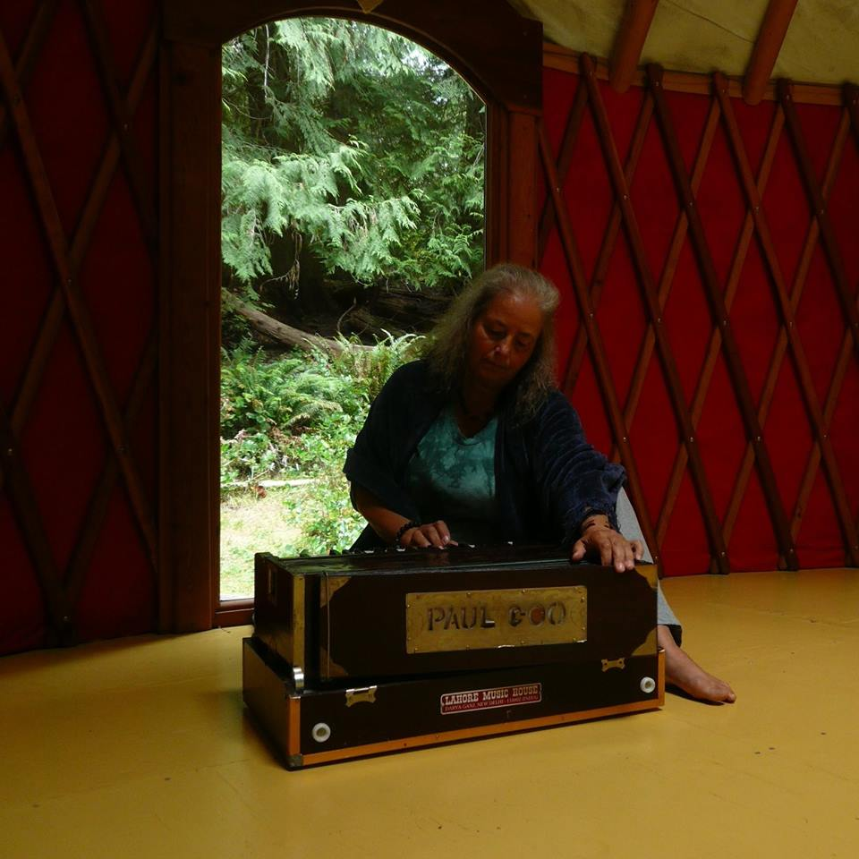playing music in the yurt