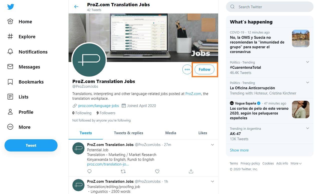 ProZ.com jobs on Twitter