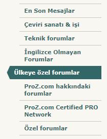 Turkish localization of the ProZ.com forums navigation