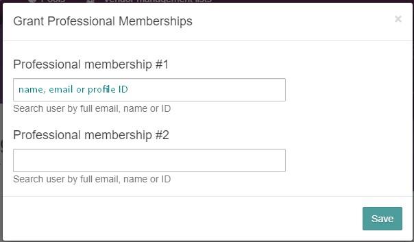 Pop-up for granting memberships