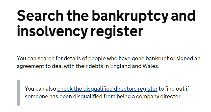 Search the bankruptcy and insolvency register